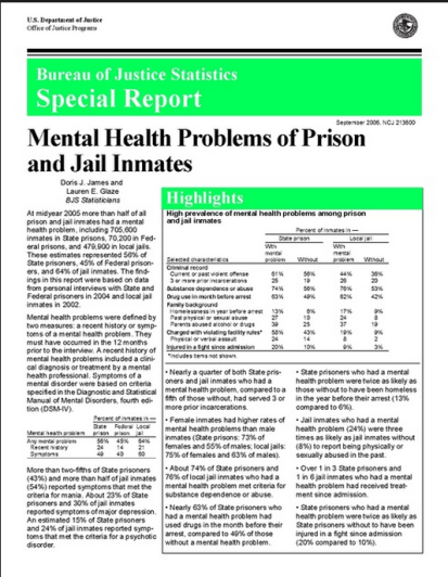 DOJ Report: Mental illness in prison | https://prisoneractivist.wordpress.com